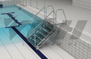 Scharnierbare luie RVS zwembadtrap t.b.v. een beweegbare bodem
