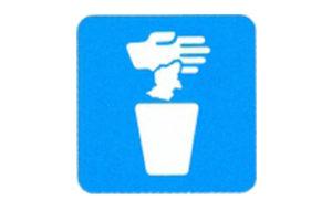 Symboolbord afvalbak