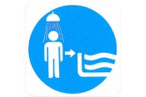 Symboolbord eerst douchen