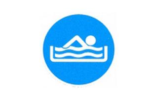 Symboolbord geoefende zwemmer