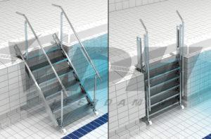 RVS uitschuifbare luie zwembad trap in de nis
